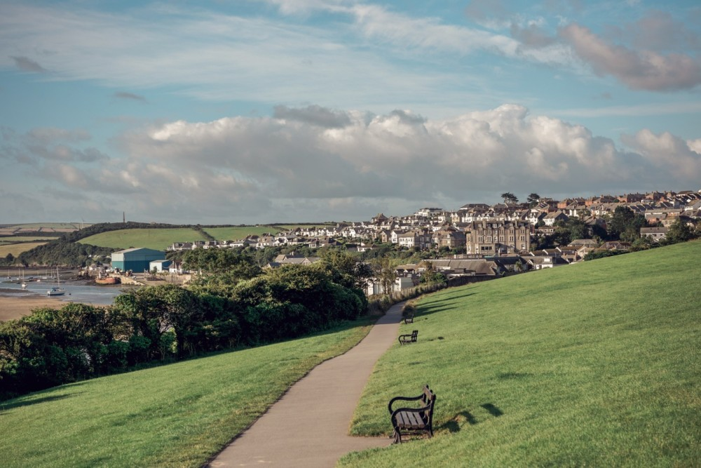 A view of Padstow town from the hillside